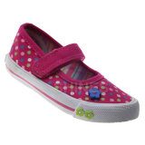 Girls Canvas Vulcanized Shoes with Dots Print and Rubber Weld