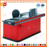 Metal Supermarket Cashier Table Checkout Counter with Conveyor Belt (Zhc38)