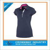 Women′s Stripe Golf Polo Shirt with Cap Sleeve