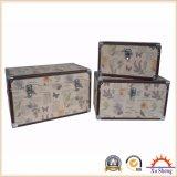 Home Furniture Canvas Print Wooden Storage Box Set of 2