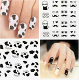 Beauty Feather Mustachee Water Transfer Nail Art Sticker Nail Sticker