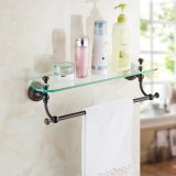 FLG Oil Rubbed Bronze Bath Glass Shelf Bathroom Wall Mounted