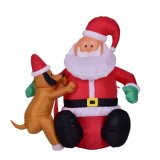 Inflatable Light-up Santa Claus Christmas Decoration for Garden Display with Air Blower and Light
