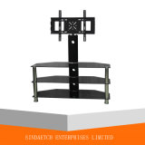 3-Shelf Tempered Glass TV Stand