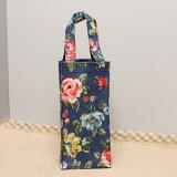 Floral Patterns PVC Canvas Blue Water Bottle Bag (W001-1)