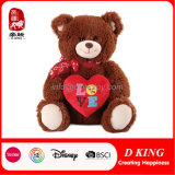 Custom Plush Toy Two Color Teddy Bear with Emoji Heart and Silk Ribbon