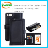 Premium Zipper Wallet Leather Phone Cover Case with Flip Credit Card Holder
