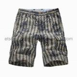 Printed Flower 100% Cotton Vertical Stripe Men′s Shorts (GDS-38)