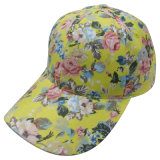 6 Panel Baseball Cap with Floral Fabric Bb117