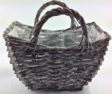 Outdoor New Design Willow Decorative Wicker Plant Basket with Liner