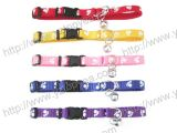 Nylon Cat Collar with Bell and Printed Paws (YD025)