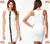 2013 UK Sleeveless Cream Fashion Ladies Bodycon Dresses (HSS-792)