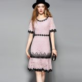 Yellow&Pink Printed Lace Casual Women Dress