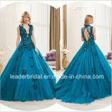 Sexy Bridal Formal Evening Gowns Blue Beading Lace Party Prom Dresses Es07