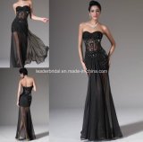 Black Strapless Sheer Lace Chiffon Sheath Evening Dress Yao123