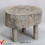 Small Round Staining Chic Foot Rest Natural Wood Stool