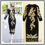 High Quality Designer Clothing Women Ladies Fashion Embroidered Long Party Prom Dress