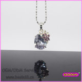 Purple Big Stone Bead Chain Crystal Necklace