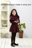 Girls′ Woollen Coat Children Clothes with Detachable Shawl