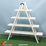 4 Tier Movable Antique White Wooden Display Rack
