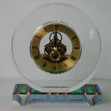 Round Crystal Quartz Clock with Rainbow Base for House Decor