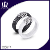 Xc017 Black and White Faceted Ceramic Finger Rings