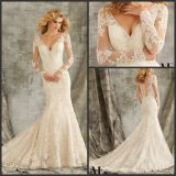 Mermaid Bridal Gown Long Sleeves Lace V-Neck Wedding Dresses Mrl1350