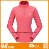 Women′s Fashion Half Zipper Micro Fleece Jacket