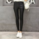 PU Matte Faux Leather Leggings with Buttons for Women P1261