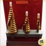 3PCS Titanium HSS Step Drill Bits Set