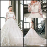 Long Sleeves Bridal Ball Gown Full Lace Pink Sash Wedding Gown G17259