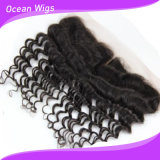 8A Brazilian Virgin Hair Deep Wave Full Lace Frontal Closure Bleached Knots 13X4 Virgin Human Hair Ear to Ear Lace Frontal with Baby Hair (F-006)
