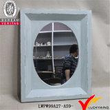 Hand Carved Light Blue Decorative Rustic Vintage Wood Frame Mirror