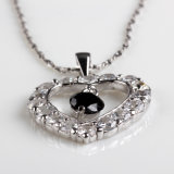 Fashion White and Black Cubic Zirconia Silve Necklace Jewelry Pendant