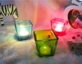 Free Sample Provide Small Size Square Clear Spray Color Glass Candle Holders