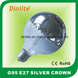 G95-60W Silver Crown / Ring Incandescent Bulb