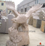 Yellow Granite Stone Garden Eagle Sculptures for Outdoor Decoration