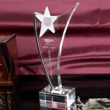 Crystal Glass Prize Awards Trophy with Star