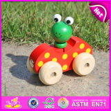 2015 New Arrival Unique Mini Car Wooden Toy, Lovely Frog Design Wooden Hand Pull and Push Toy, Christmas Wooden Drag Toy W04A141