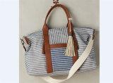 New Designer Canvas Traveling Bag Striped Cotton Handbag