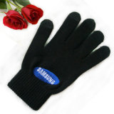 Custom Acrylic Knitted Winter Hand Gloves with Embroidery Logo