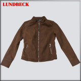 Flocking Women PU Jacket with Simple Style