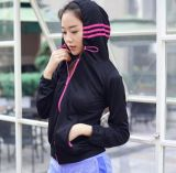 Wholesale Yarn Day Strips Hoodie Fitness Woman Gym Clothing