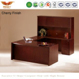 Wooden Luxury Multi-Purpose Executive Office U Shape Computer Curved Desk with Side Table Bookcase (HY-U01)