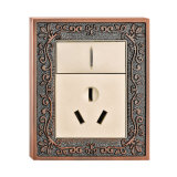 Classic Pattern Brass Wall Power Socket with Switch