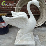 Natural Stone Pure White Marble Hand Carved Swan Sculpture