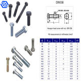 Hexagon Head Screw Titanium/Titanium Alloy Bolt with Nut (DIN 558)