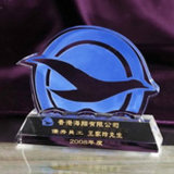 China New Design Personalized Achievement Crystal Trophy with Blue Bend