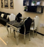 Modern Marble Top Rectangle Stainless Steel Dining Table