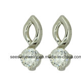 925 Hotselling Sterling Silver Round Earrings with Double Crystal Stones Sudded for Women